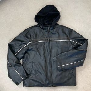 Whispering Smith Faux Leather Piped Zip Jacket